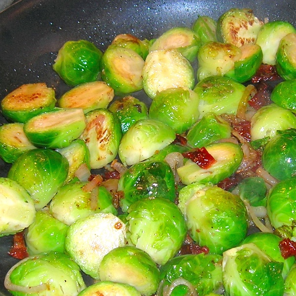 Brussels Sprouts with Shallots & Sundried Tomato