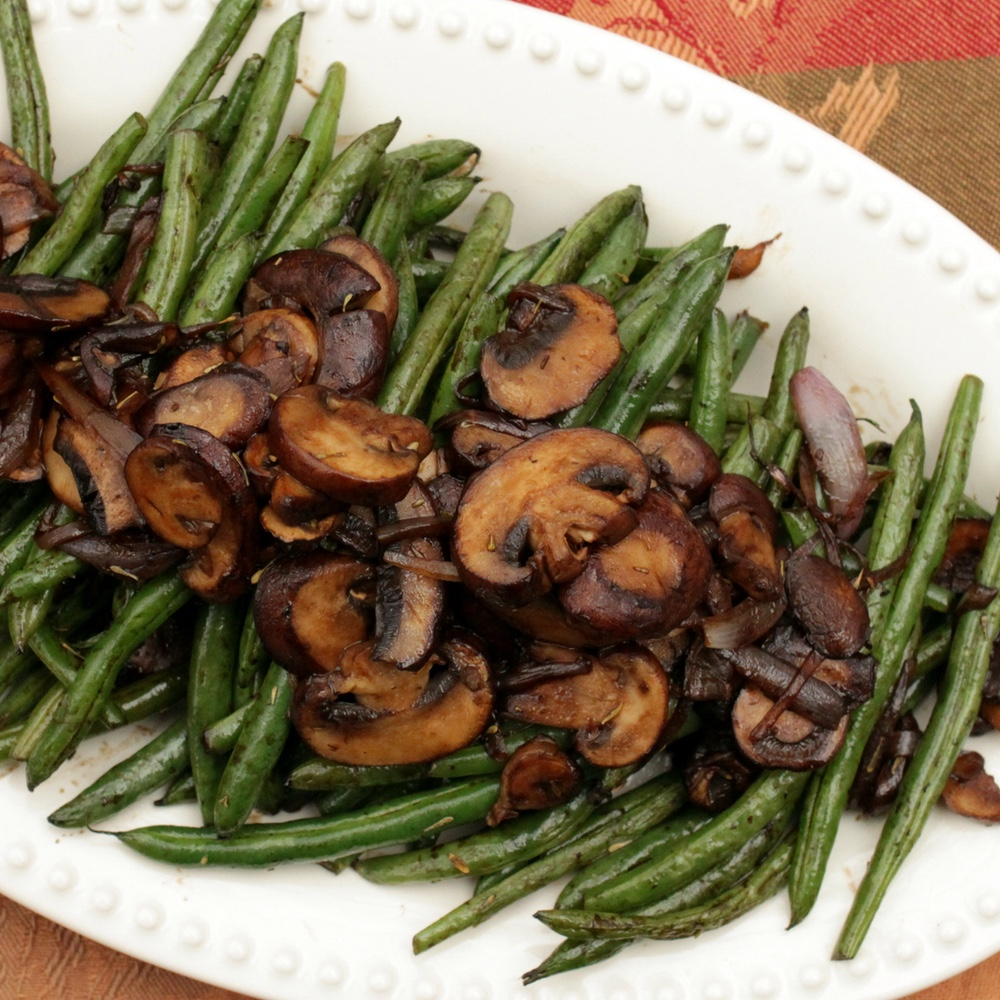 Balsamic Glazed Green Beans and Mushrooms