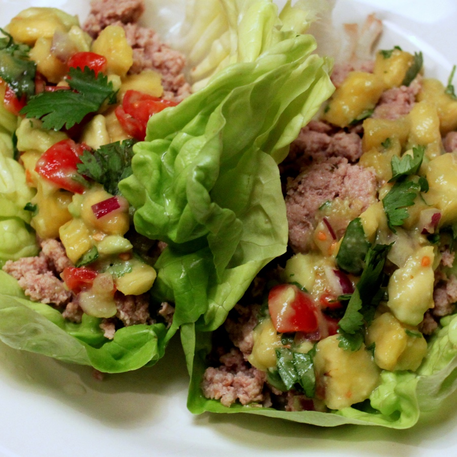 Turkey Lettuce Wraps with Fresh Pineapple Salsa