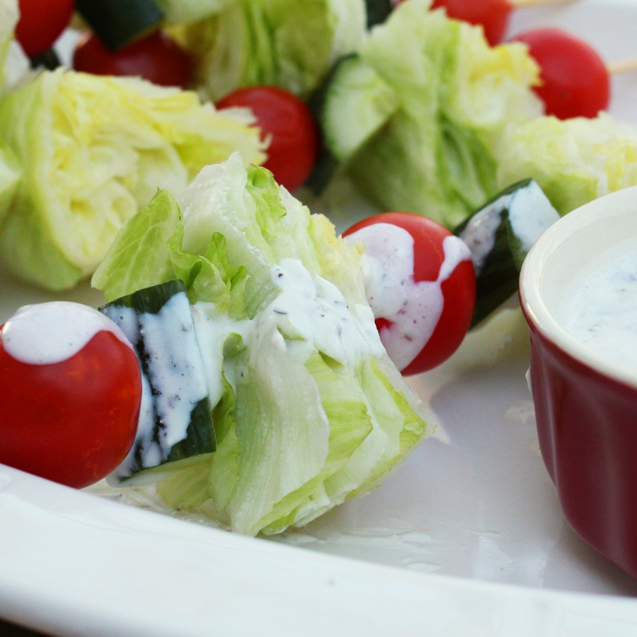 Salad Skewers with Homemade Ranch