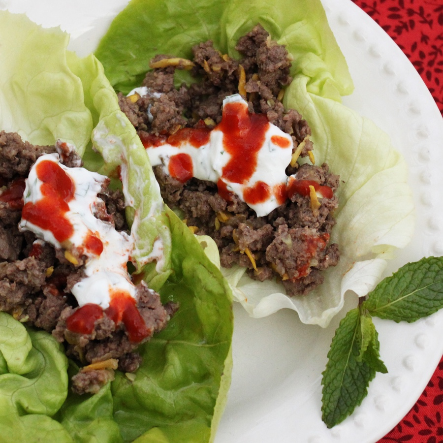 Beef Lettuce Wraps with Yogurt Mint Sauce