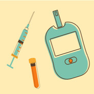 Glucose meter, syringe, and vial on a yellow background