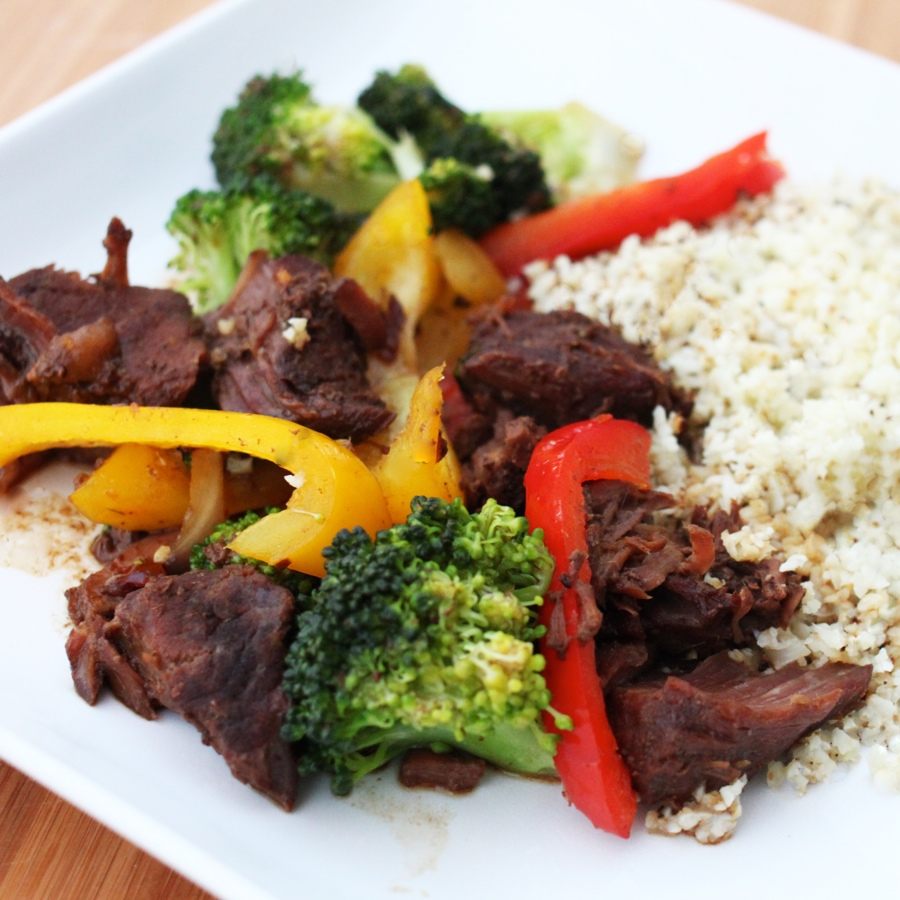 "Sesame Beef & Vegetable Stir-Fry with Cauliflower ""Rice"""