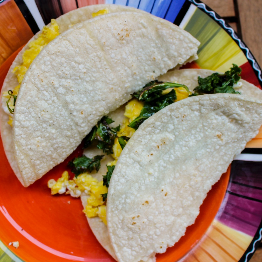 Egg and Spinach Breakfast Taco.