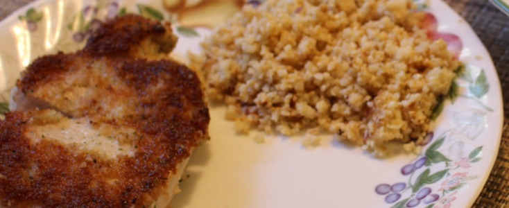Pork chops and cauliflower rice