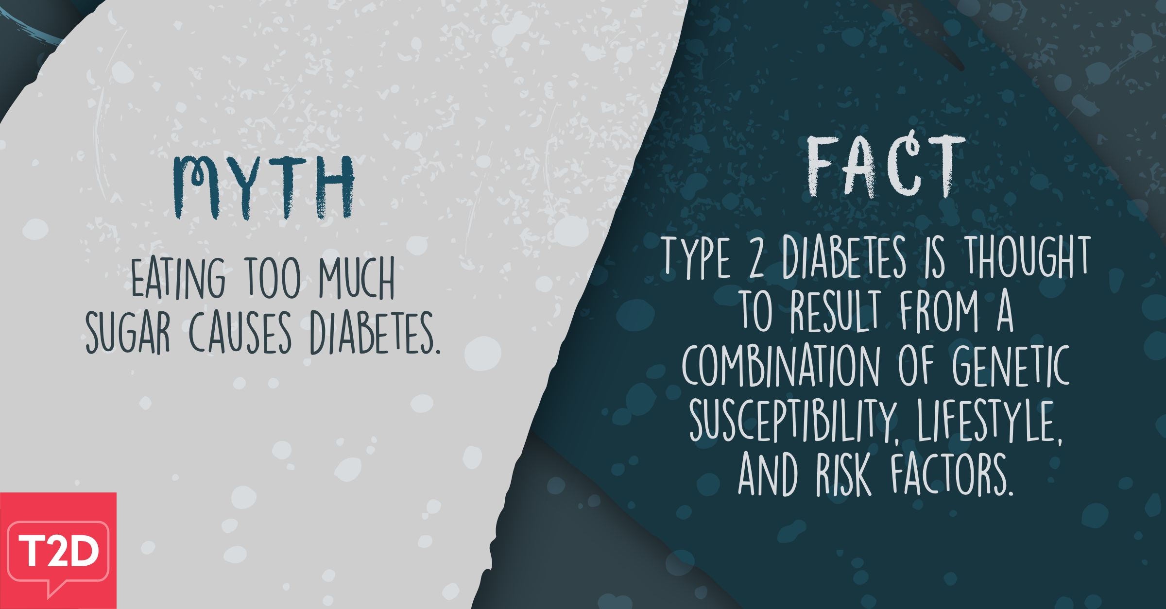 Myth: Eating too much sugar causes diabetes. Fact: Type 2 diabetes is thought to result from a combination of genetic susceptibility, lifestyle, and risk factors.