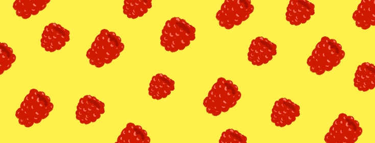 Many red raspberries