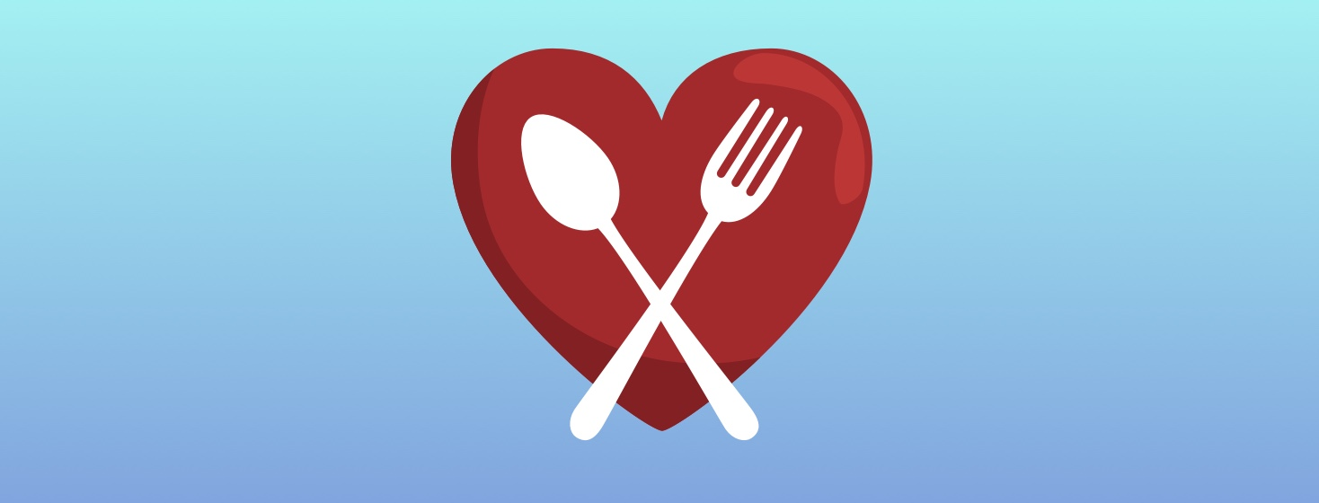 fork and spoon crossed over a heart
