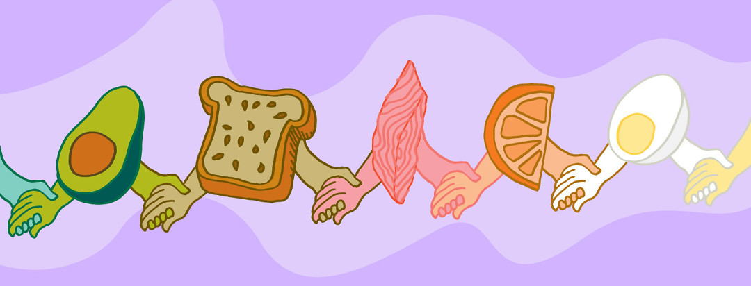 an avocado, bread, salmon, orange, and an egg holding hands