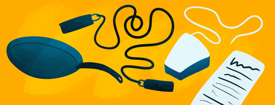 a frying pan, jump rope, floss, and nutrition label