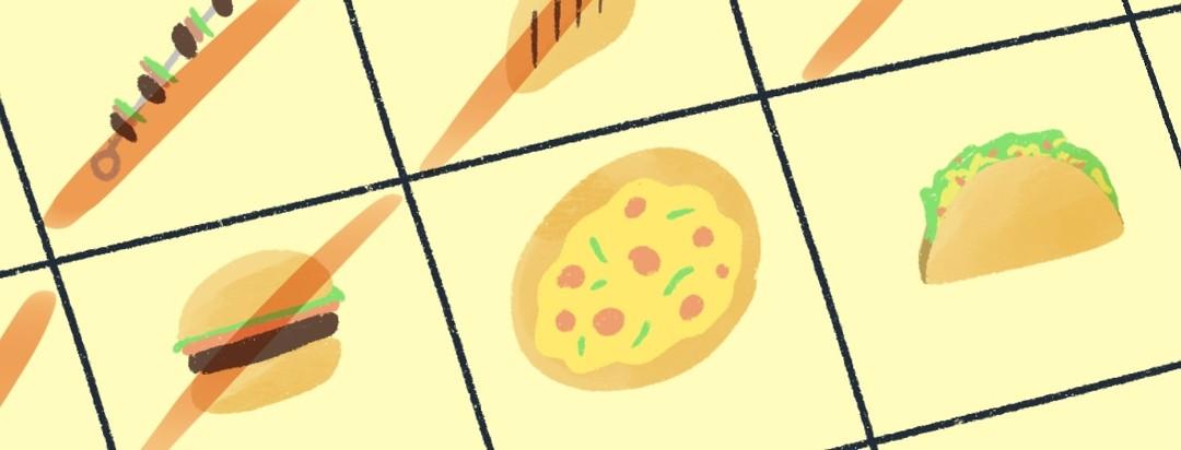 calendar with food items on each day