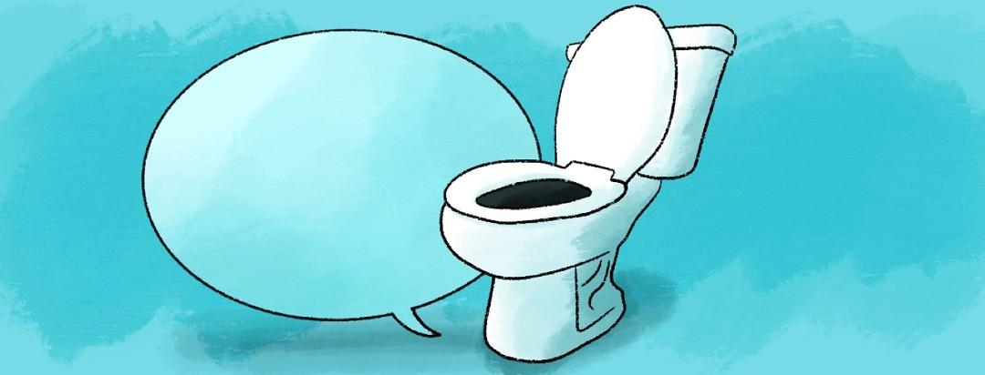 toilet in front of speech bubble