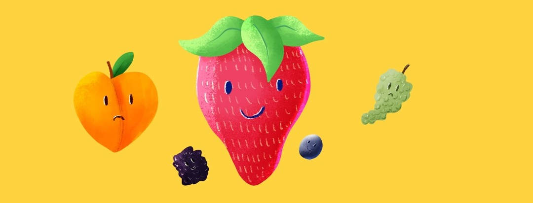 assorted fruits with happy and sad faces