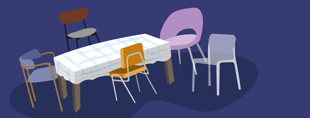 different types of chairs around a table