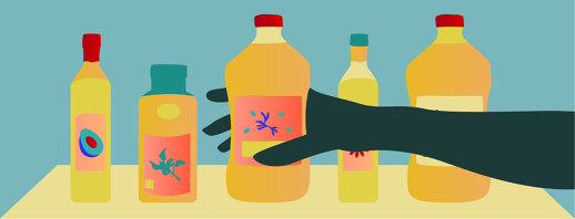 A hand grabs a bottle of olive oil on a shelf of five different oils