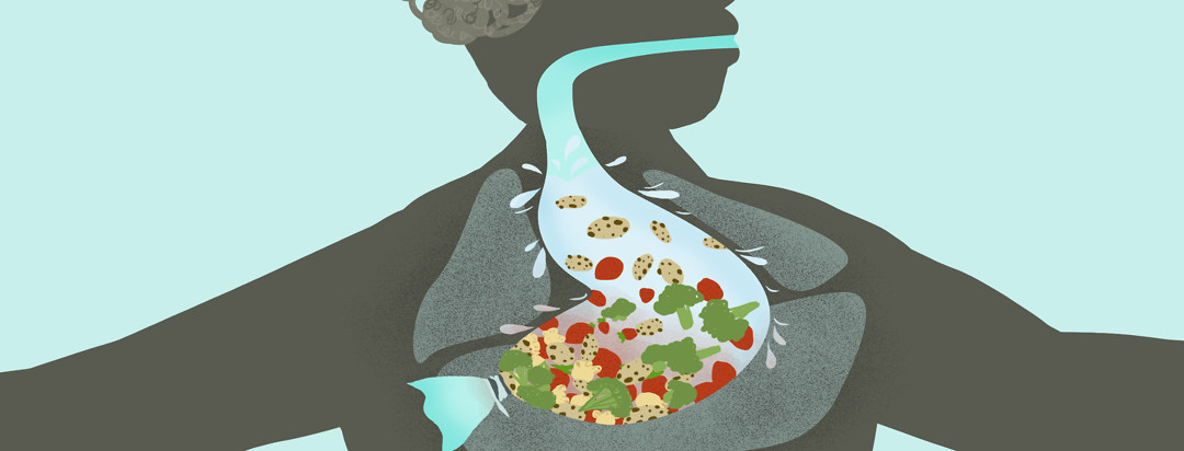 A man's stomach is tied at the end as a pile of food including strawberries, broccoli, popcorn, and cookies sloshes to the top.