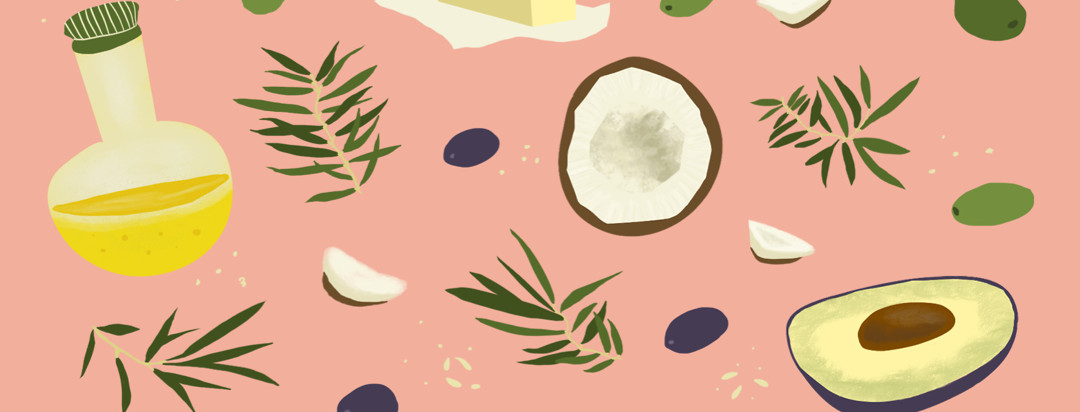 Pattern of olive oil, coconut, avocado, olives and leaves on a pink background