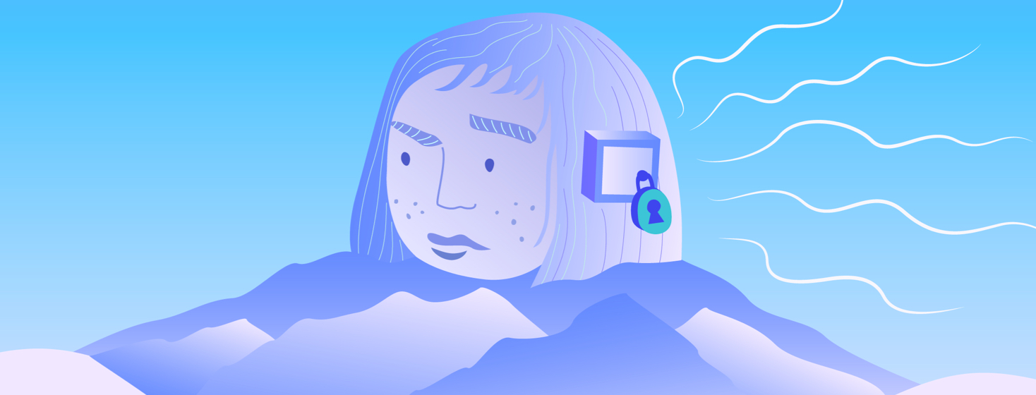 Woman's head on a stack of mountains has a locked box over her ear, impenetrable to sound waves.