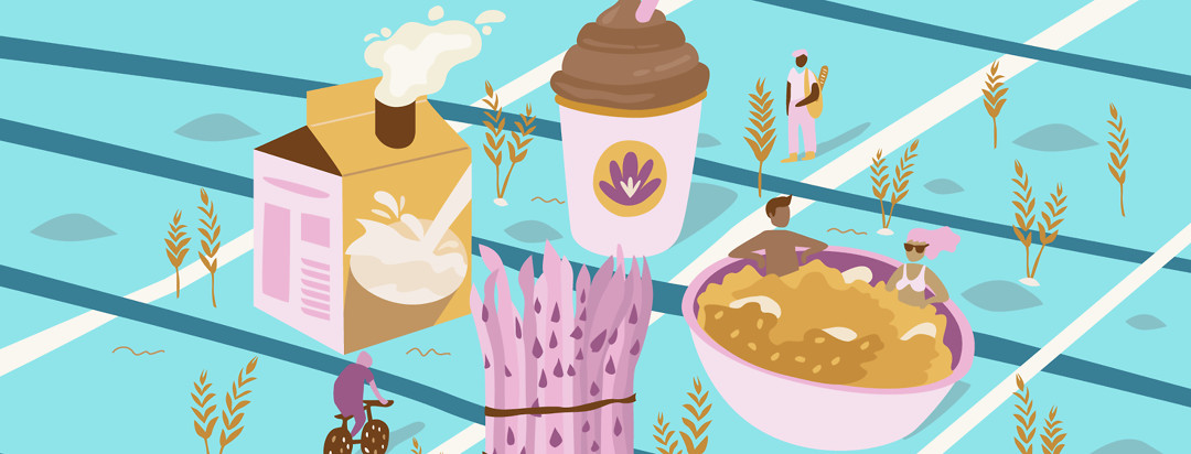 A blue, pink, yellow, and brown street map of food like oatmeal, soy milk, asparagus, and a chocolate smoothie. Trees of wheat plants surround the giant food monuments on the map.