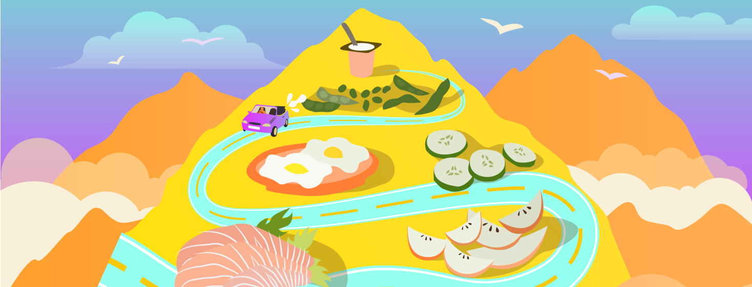 Mountains and clouds are featured; the central mountain shows giant food items like apple slices, sashimi, edamame, cucumbers, yogurt, and eggs as a car travels through the road of food.