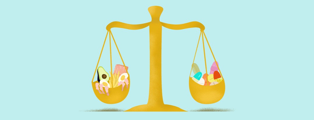 A gold justice scale holds high fat foods (avocado, shrimp, fries, eggs, and salmon) on one side while the other side holds a variety of pills.