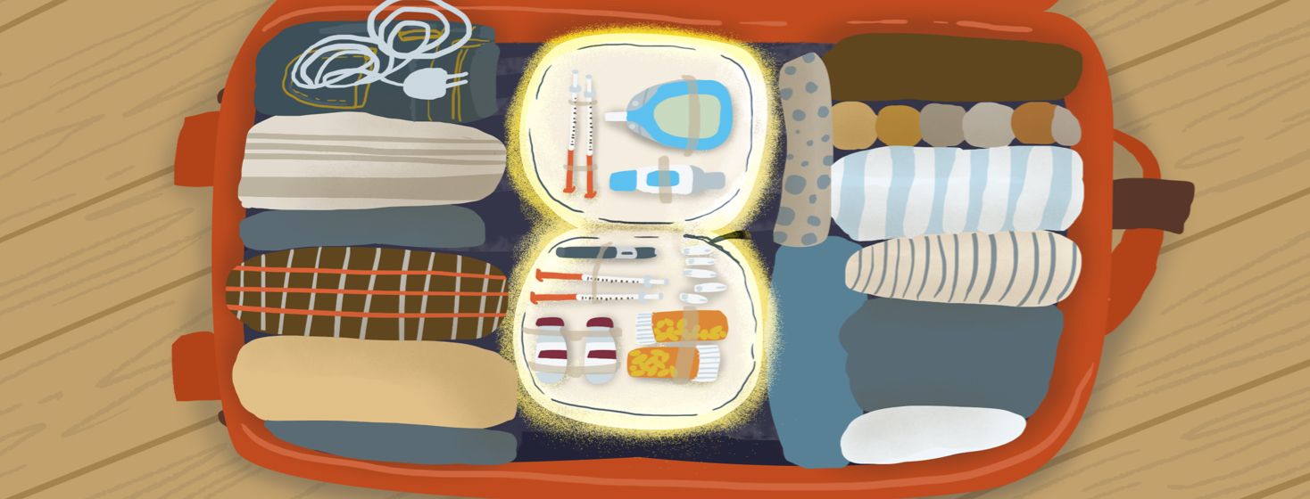 An open suitcase packed with rolled up clothes and a charger features an open diabetes medication pouch with extra pill bottles, a glucose monitor, and needles.