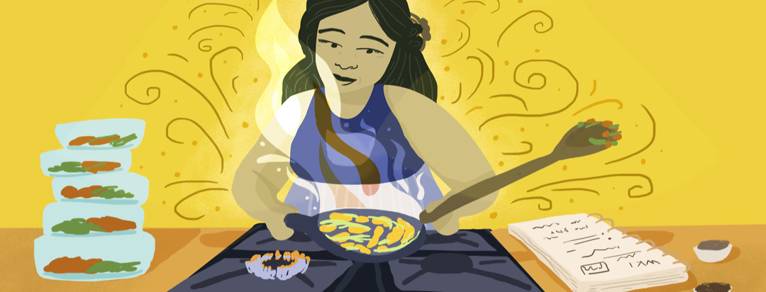 A woman sautés vegetables and chicken at a stove. A meal planning journal and containers of prepared food are beside her.