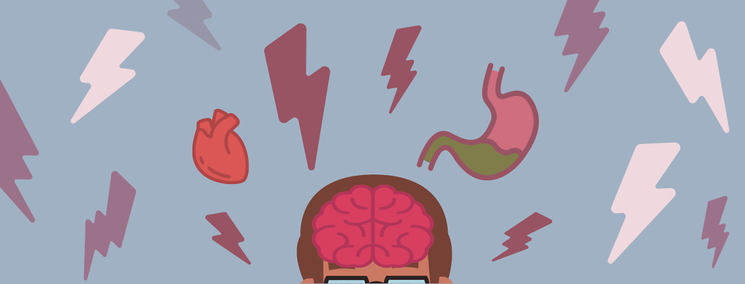 Top of a person's brain is visible with lightning bolts, a heart, and a stomach with bile floats above their head.