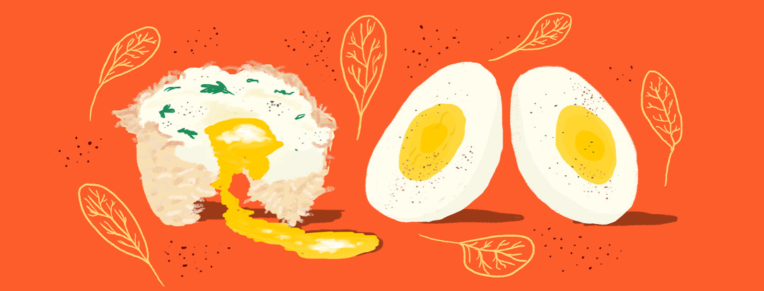 A potato, parsley, and egg muffin with two halves of a hard-boiled egg on a tomato red background.