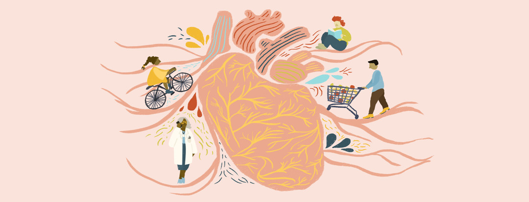 A pink heart with yellow veins in the center; a doctor on the phone, a woman on a bike, a person reading, and a man with a cart of groceries are on the arteries surrounding the heart.
