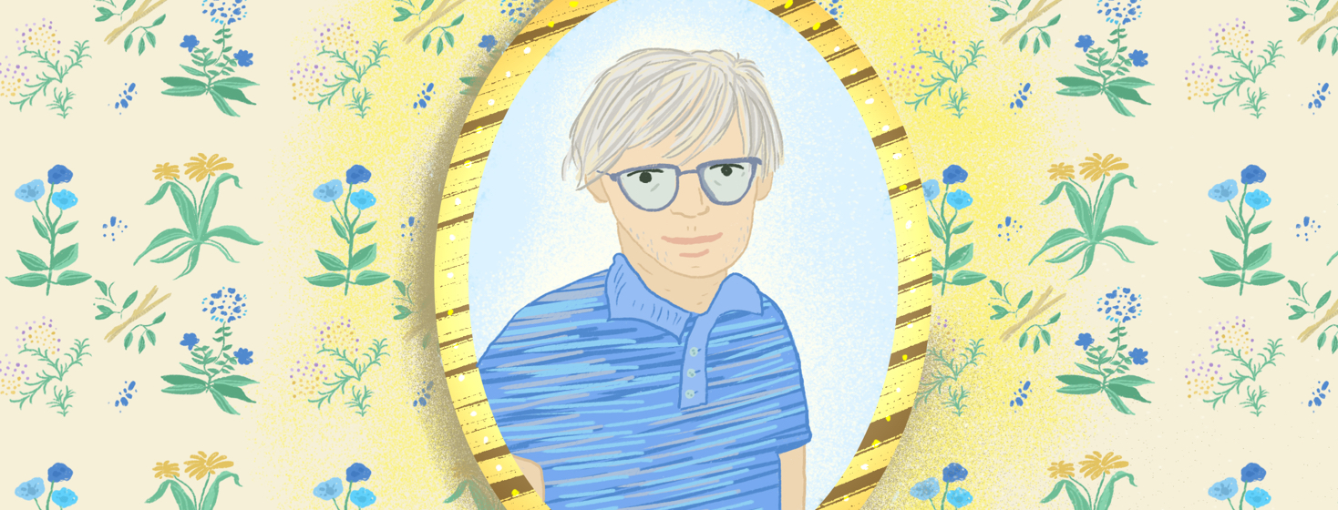 A man with grey hair and glasses is shown in an ovular portrait against a wall with green, yellow, and blue floral wallpaper.