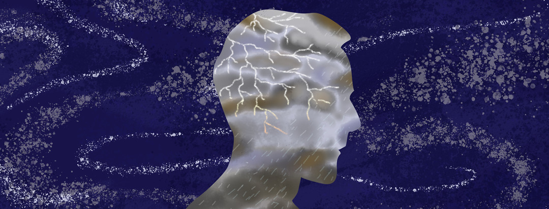 Stars in the night sky swirl behind the profile of a man whose face billows with storm clouds; a flash of lightning emanates from the back of his head, with rain pouring from his cheek to his neck.