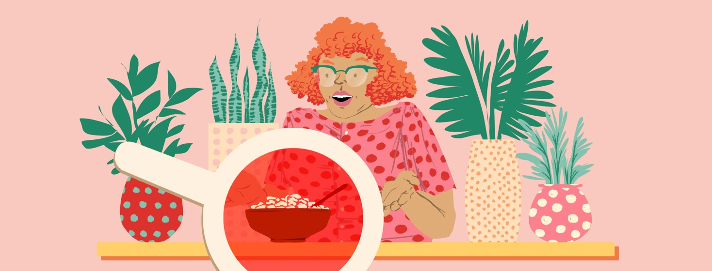 A woman surrounded by potted plants shrugs as a red decoder lens reveals a bowl of Special K cereal sitting in front of her.