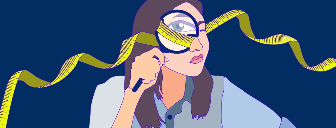 A woman investigates the truth through a magnifying glass.