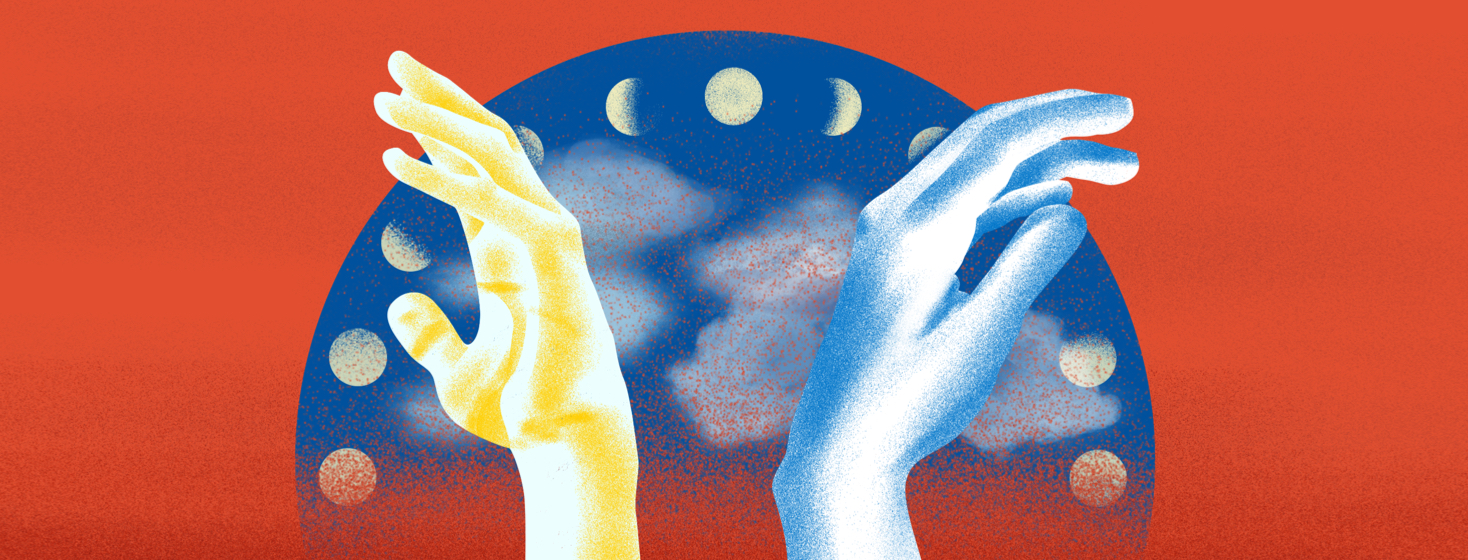 Two hands - one basking in the light of the sun and the other blue from cold - pose before a moon cycle chart.