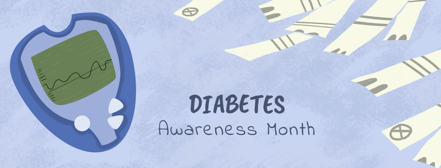 Diabetes Awareness month including a glucose monitor and many glucose monitor strips.
