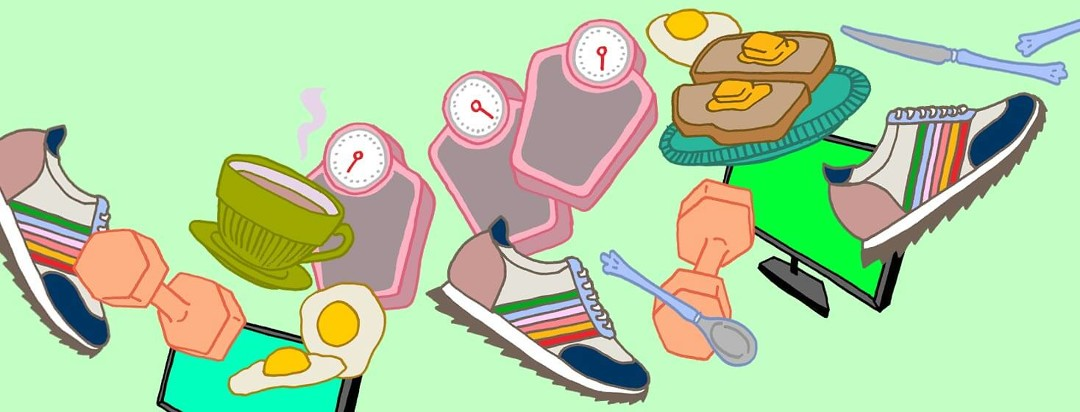 Scales, sneakers, balanced meals, and weights accumulate as methods to healthily keep weight off.