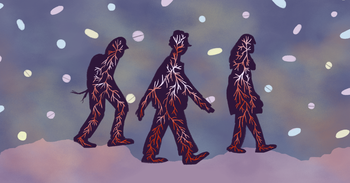 Three silhouettes of people walk through a snow storm of pills; their red veins are visible with spots of red.