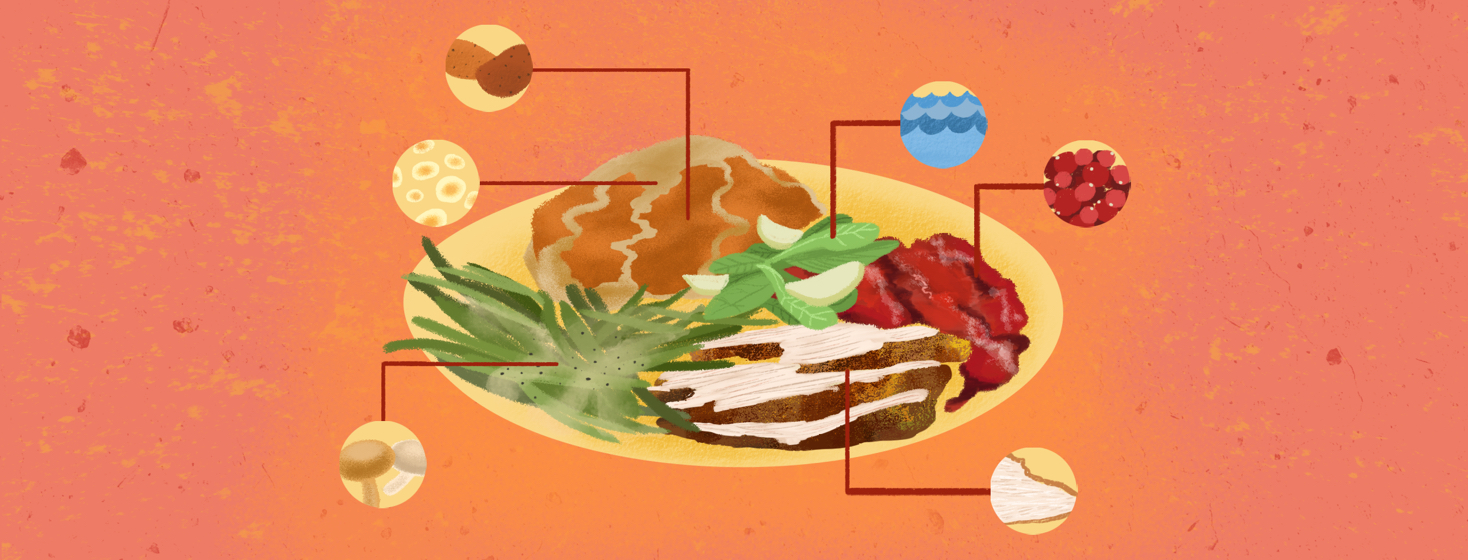 A deconstructed plate of food featuring different side dishes and highlighting their content, like water for salad, white meat for turkey, and cranberries for sauce.