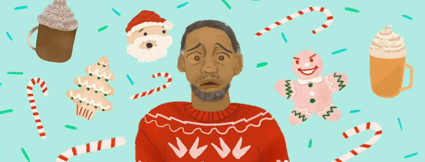 A person in a holiday sweater has an anxious face as cookies, treats, and lattes float around him.