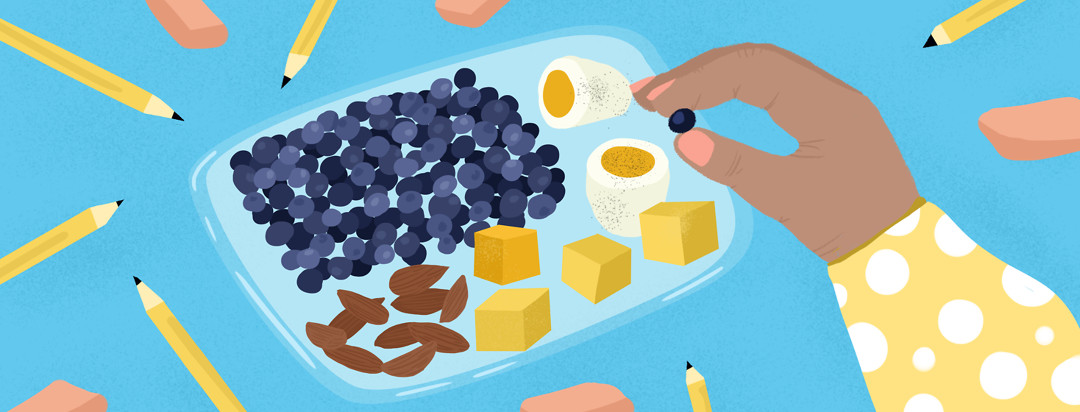 A snack plate of blueberries, eggs, cheese cubes, almonds. A hand reaches for a blueberry; pencils and erasers float around the plate.