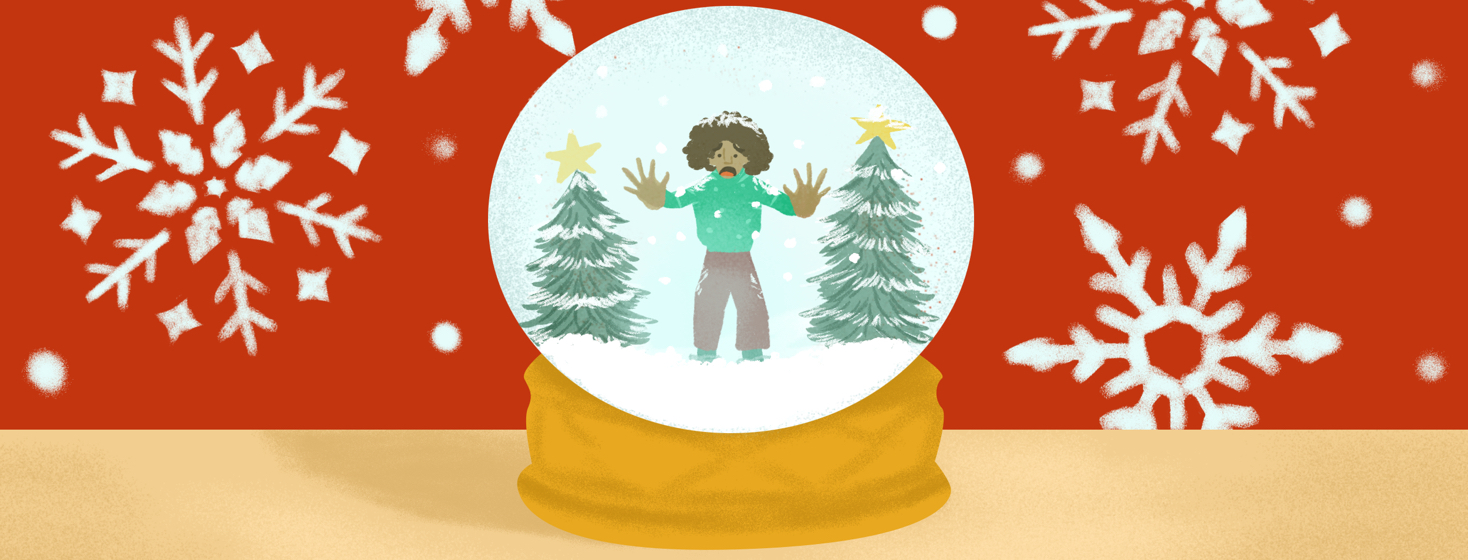 A person presses their hands to the glass of a wintery snow globe, trapped inside. Pressed snowflakes design the wall behind them.