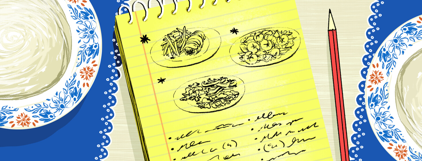 A spiral notebook is open to written notes and drawings of possible balanced recipes.