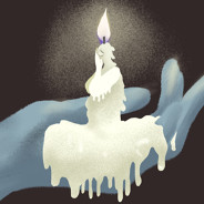 Personified candle burns as its wax drips down a hand holding it up.