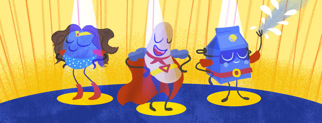 Superfoods like a blueberry, cashew, and soy milk dressed up as superheroes.
