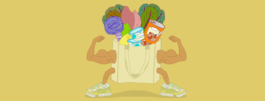 Muscles pop out of reusable groceries bag filled with cabbage, kale, sweet potatoes, yogurt, and beans.