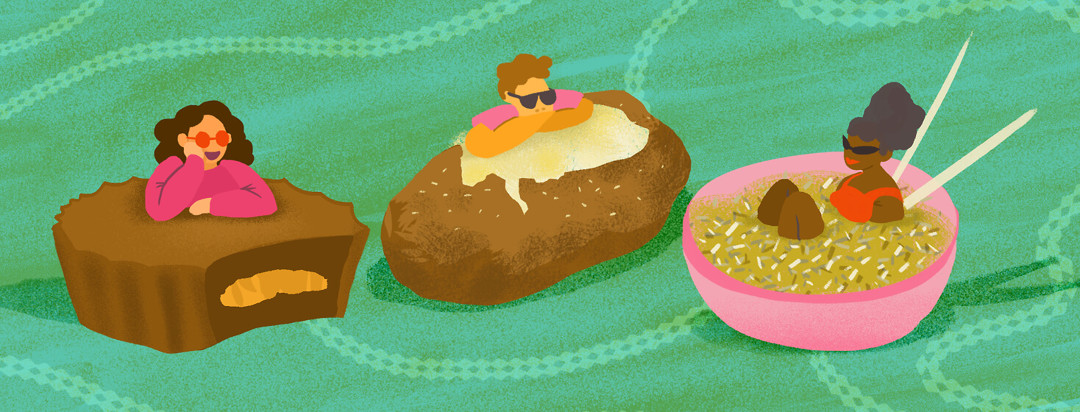 Chocolate peanut butter cup, baked potato, brown rice bowl with chopsticks; people lounging with sunglasses atop food.