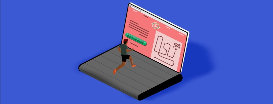 person running on a laptop treadmill hybrid towards a race entry submission