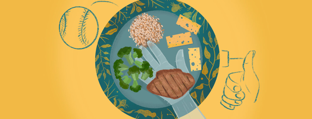 Decorative plate showing brown rice, broccoli, steak, cheese slices, sketch of hand mapping size of steak, drawing of thumb proportion size of cheese, baseball showing portion size of grains.
