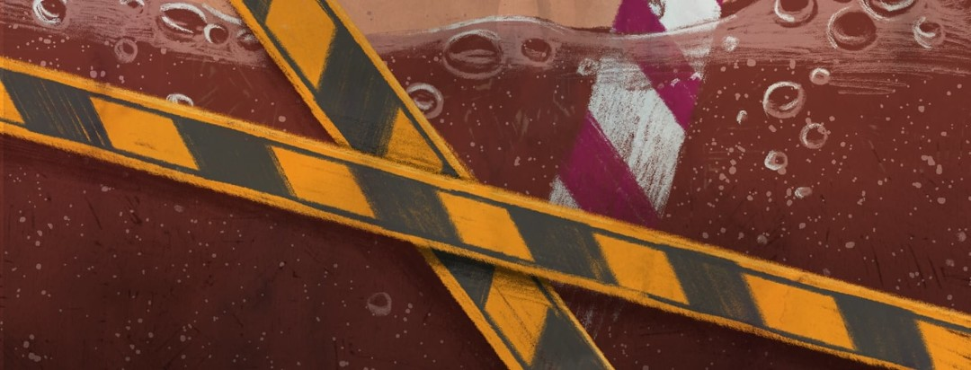 A closeup cropping of a glass of soda with a straw in it. There is caution tape crossing over the soda